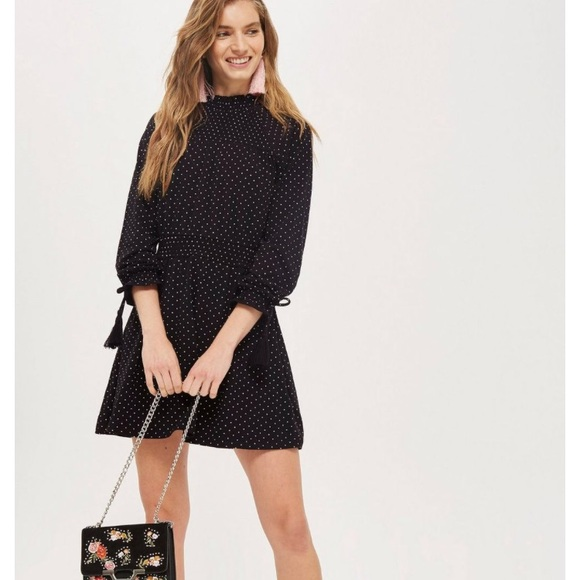 33901845dc56 Topshop Dresses | Spot Shirred Waist Dress | Poshmark